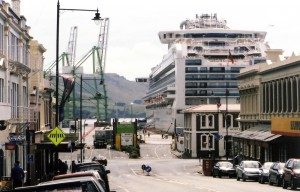 The Port Chalmers Seafarers Centre (by the yellow road sign on the left) is sited within a 100m of the port entrance